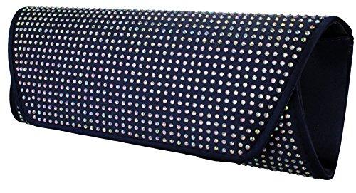 Elegante borsa da donna / Clutch / Borsa da sposa / Borsetta da sera con strass in vari colori antracite, navy, rosa, rosso, nero o grigio argentato Navy