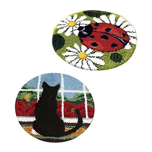 Baoblaze 2 Set Knüpfteppich Formteppich (Katze und Marienkäfer) für Kinder und Erwachsene zum Selber Knüpfen Teppich, Latch Hook Kit -
