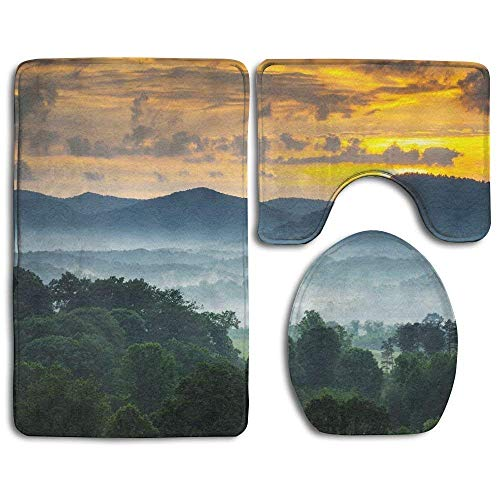 Sheer Lip Liner (Bath Mat 3 Piece Bathroom Rug Set,Sunset Over The Blue Ridge Mountains in Asheville, North Carolina Design Shower Mat and Toilet Cover, Non Slip and Extra Soft Toilet Kit, Anti Slippery Rug)