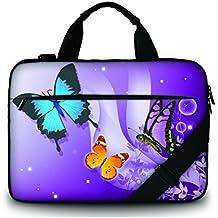 """MySleeveDesign – Bolso bandolera de lona para portátil 17"""" - Maletin / Funda universal para ordenadores portátiles de 17 - 17,3 pulgadas – VARIOS DISEÑOS - Butterfly Purple"""