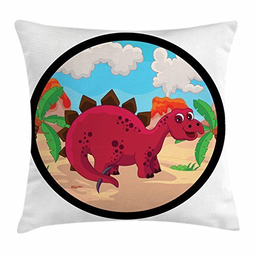 Dinosaur Throw Pillow Cushion Cover, Friendly Pink Dinosaur inside Round Frame in Natural Habitat Prehistoric Reptile, Decorative Square Accent Pillow Case, 18 X 18 Inches, Multicolor