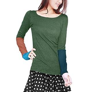 Allegra K Sourcingmap Damen Loch Ärmeln Tief Rundausschnitt Herbst Shirt Bluse Pullover