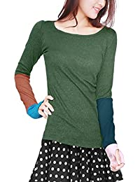 Allegra K Women's Color Block Round Neck Long Sleeves T-Shirt w Thumb Hole