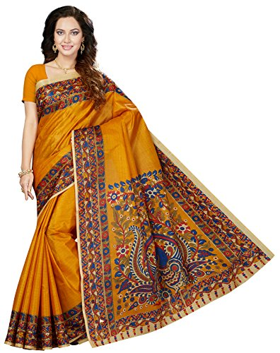 Ishin Art Silk Orange Printed Party Wear Wedding Wear Casual Wear Festive Wear New Collection Latest Design Trendy Women\'s Saree/Sari