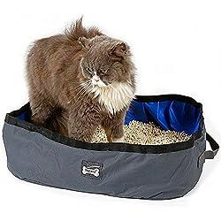 Arenero plegable y portátil para gatos de Petneces, resistente al agua, para viajes, al aire libre, caja para arena de gato