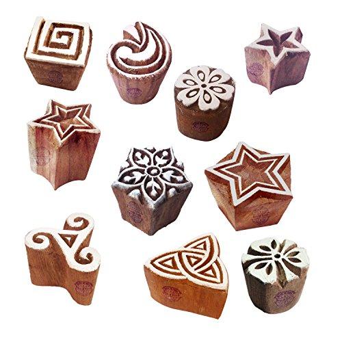Geometrische Drucken (Royal Kraft Lehm Drucken Blöck Künstlerisch Klein Star Geometrisch Designs Holzstempel (Set von 10))