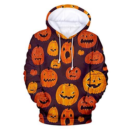 Wikinger Für Kostüm Paare - EVAEVA Herren Kapuzenpullover Halloween Casual Sportjacke Kürbis Bedruckt Sweatshirt Kostüme Pulli Kapuzen-Sweatshirt mit Kängurutasche