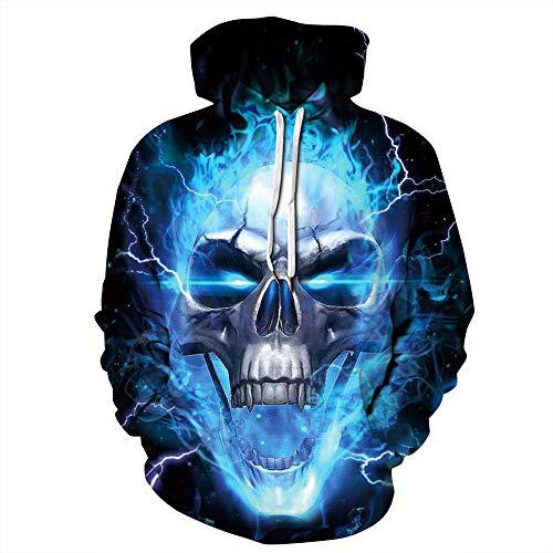 HSDCK Halloween Skeleton Print Kostüm Unisex 3D Fashion Digital Print Pullover mit Kapuze Sweatshirts mit Taschen,01,5XL (Gewinnen Kostüm Für Paare)