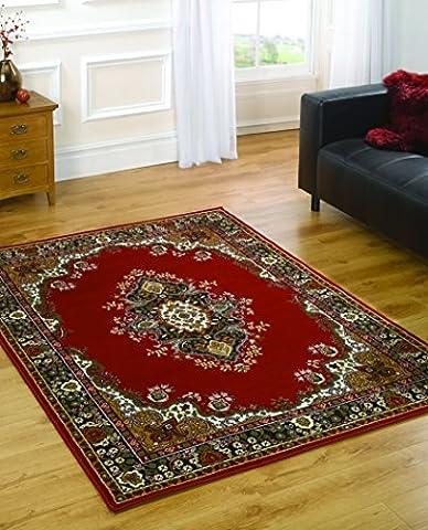 Grand médaillon traditionnelle de qualité-Design Oriental doux Tapis-Rouge - 160 x 220 cm (5 'x8')