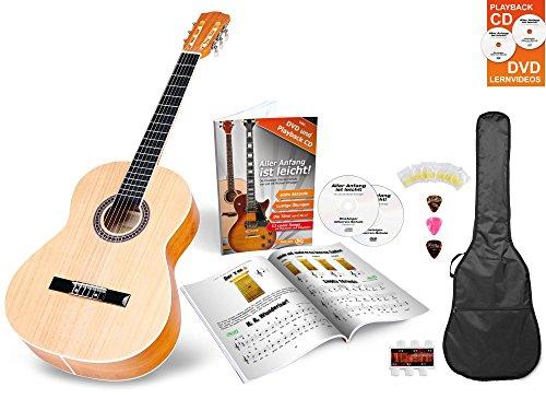 Classic Cantabile AS-854 1/2 Konzertgitarre Starter Set (Komplettset mit Akustik Gitarre, Gigbag Tasche, Ersatzsaiten, Lehrbuch/Schule inkl CD und DVD, 3x Plektren und Stimmpfeife)