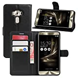 HualuBro ZenFone 3 Deluxe ZS570KL Hülle, Premium PU Leder Leather Wallet HandyHülle Tasche Schutzhülle Flip Case Cover für ASUS ZenFone 3 Deluxe ZS570KL Smartphone (Schwarz)