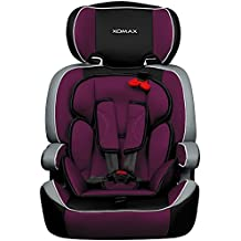 XOMAX XM-K1 + silla de coche para niños + Grupo I / II / III (9-36 kg) + ECE R44/04 tested + negro / gris / púrpura + Arnés de 5-puntos + reposacabezas ajustable + respaldo fijo + La tapa desmontable y lavable