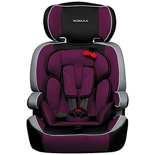 XOMAX XM-K1 + Seggiolino per auto + Adatto per i bambini tra 1 e 12 anni di età e di peso 9-36 kg + testato e approvato in ECE R 44/04 Gruppo 1/2/3 + colore viola / nero / grigio + Cintura di sicurezza a 5-punti + il poggiatesta è regolabile + sedile per la clase III + Lo schienale è removibile