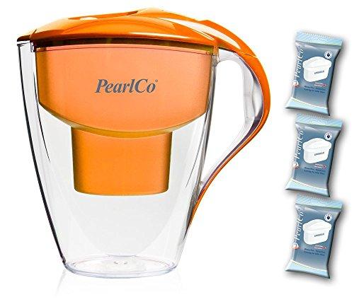 PearlCo Wasserfilter Astra (orange) Starter-Paket inkl. 3 unimax Filterkartuschen (kompatibel mit Brita Maxtra)