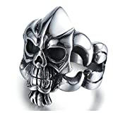 Bishilin Edelstahl Ring Herren Gothic Schädel Totenkopf Partnerringe Männer Ring Schwarz Silber Größe 62 (19.7)
