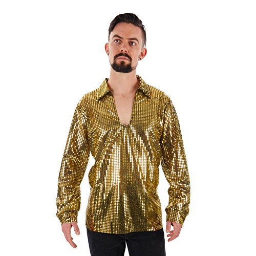 labeobarbus Herren Pailletten Disco Shirt, Gold, Soul Train Shirt Gold JKH M/L (11 ()