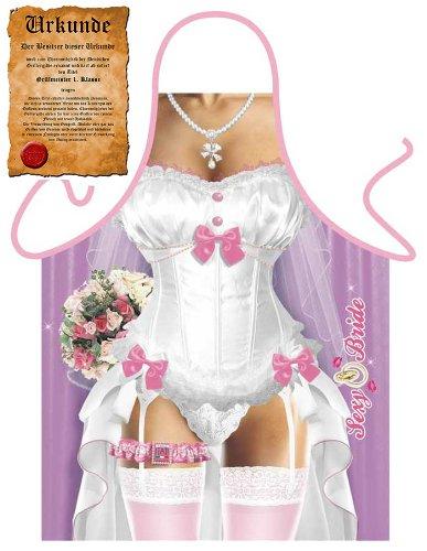 Veri  Erotische Geschenke Grillschürze Sexy Braut Brautkleid für Männeraugen mit Urkunde one size