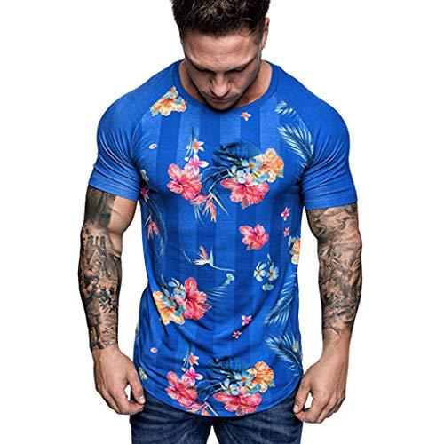 REALIKE T-Shirt Herren Kurzarm 3D Druck Blumendruck Muster mit Rundhalsausschnitt Unterhemden Männer Oberteile Muskelshirt Fitness Bluse Sport Bequem Atmungsaktiv Tops -