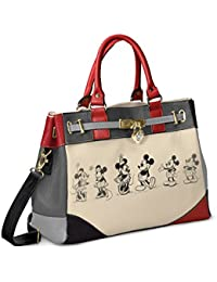 Designer Disney Mickey Mouse And Minnie Mouse Love Story Handbag with a locket-style heart charm featuring a Mickey Mouse silhouette by The Bradford Exchange
