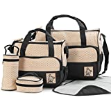 Baby Bucket Diaper Bag/Baby/Mummy/Handbag 5pcs/set Baby Diaper Bag Nappy Mummy Bag Print Maternity Handbag Changing Baby Messenger Bag (Black)