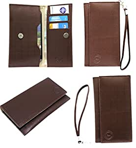 Jo Jo A5 D4 Leather Wallet Universal Pouch Cover Case For Samsung Galaxy Star 2 Plus Brown