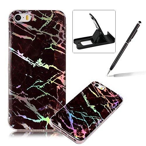 Herzzer Coque en Silicone pour iPhone 5S Marbre Motif, Ultra Mince Glitter Paillette TPU Souple Housse Etui de Protection Anti Choc pour Apple iPhone SE/5S/5 - Noir