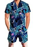 Adicreat Herren Sommer Blumenmuster Hawaiische Shorts Kurzen Ärmel Strampler Overalls Blau