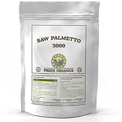 Saw Palmetto/Saw Palmetto, 360Tablets (Testosterone Booster, Prostate and helps with) A 3000mg–For 360Days Supply–Östrogenblocker Vegan Hair Loss–GMP Quality–PREISHAMMER by DNG Germany
