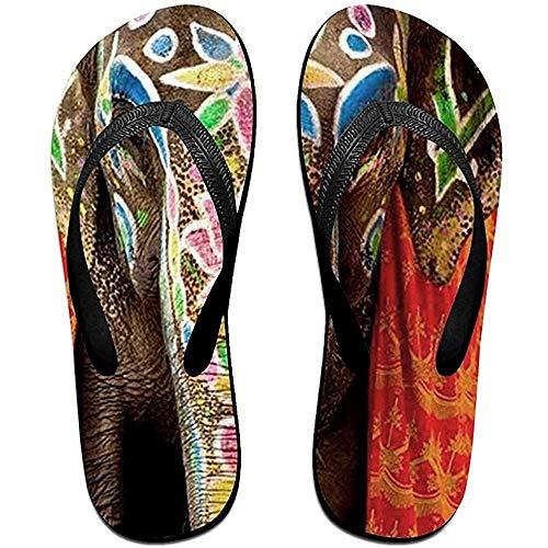 Zapatillas Unisex Chanclas Antideslizantes Flor Elefante Nariz Guay Zapatillas de Playa Sandalia