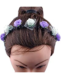 Kabello Multi Colored Flower Headband / Hair Band For Girls And Women (Purple / White)