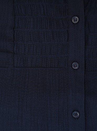 oodji Collection Femme Tunique Col en V Bleu (7900N)