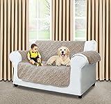 Cubierta de lujo para sofá | antideslizante | resistente al agua | lavable para cualquier estación fundas de sofá 1/2/3plazas, protector para sofá, Microfibra, beige, (Two Seater ( 224 x 179 CM )