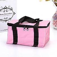 Preisvergleich für Yudanwin Leinwand-Lunch-Tasche Einfarbige Nette quadratische Kühltasche Lunch Bag (Pink)