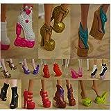 Aisoway Monster High Bambola Stivali Tacco Alto Scarpe Sandali Dollhouse Accessori 10 Paia Colore Casuale