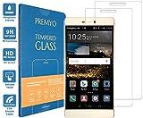 [2 Pièces] PREMYO verre trempé P8. Film protection Huawei P8 avec un degré de dureté de 9H et des angles arrondis 2,5D. Protection écran Huawei P8
