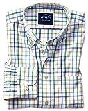 Bügelfreies Classic Fit Popeline-Hemd mit Button-down Kragen und buntem Karo in Grün Knopfmanschette