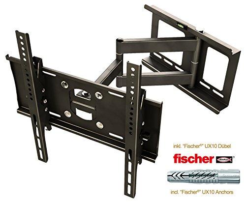 RICOO Wandhalterung TV Schwenkbar Neigbar R23F Fischer® UX10 Dübel Universal LCD Wandhalter Fernseher Halterung Curved OLED QLED Flachbildfernseher 80cm/32