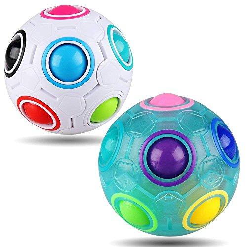 Yojoloin Rainbow Puzzle Ball Cube Magic Rainbow Ball Bundle Stress Reliever Fidget Ball Fidget Toys para niños Set de 2
