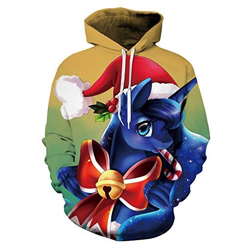 AMOMA Unisex Slim Fit 3D Digital Bedruckte Sweatshirt Kapuzenpullover Hoodies Christmas Unicorn