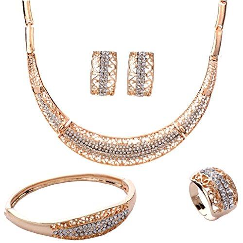 Yazilind plaqué Or Collier Creux Bracelet Earings Anneau Strass mariée Parures