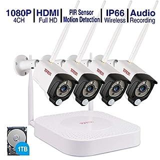 (Audio+PIR) Tonton 4CH 1080P Full HD Wireless NVR System Funk Überwachungsset mit Audioaufnahmemit 4 X 2.0MP WLAN Outdoor Außen IP Überwachungskamera, Kabellos, Tonaufnahme (1TB Festplatte inklusive)