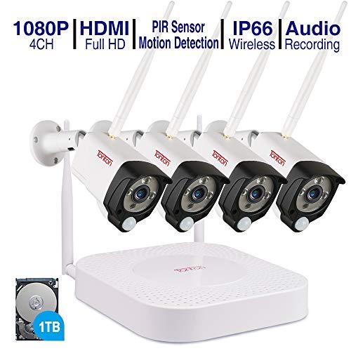 (Audio+PIR) Tonton 4CH 1080P Full HD Wireless NVR System Funk Überwachungsset mit Audioaufnahmemit 4 X 2.0MP WLAN Outdoor Außen IP Überwachungskamera, Kabellos, Tonaufnahme (1TB Festplatte inklusive) -