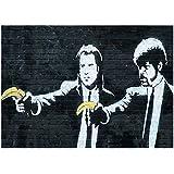 """YouFrame Banksy - impresión sobre lienzo con icónica obra de arte de la película 'Pulp Fiction', marco de aluminio, aluminio, Coloured, 101.6cm x 76.2cm (40""""x30"""")"""