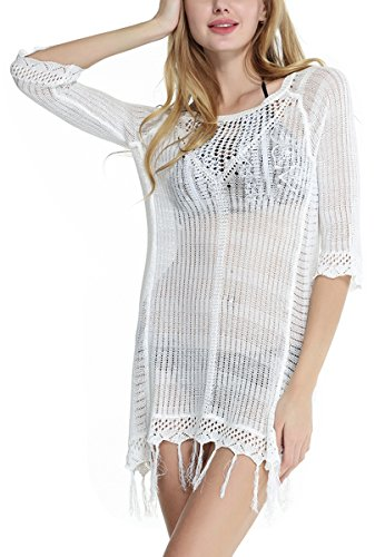 CHIC DIARY Damen Bikini Cover Up Stricken Mini Strandkleid mit Fransen Troddel Badmode Tunika Kleid Badeanzug (Kleid Cover Up Badeanzug)