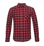 Nutexrol Herren 2018 Herbst Flanellhemd Gitter Langarm Shirt Bluse mit Eine Brusttasche Fit S-2XL Rot Schwarz L