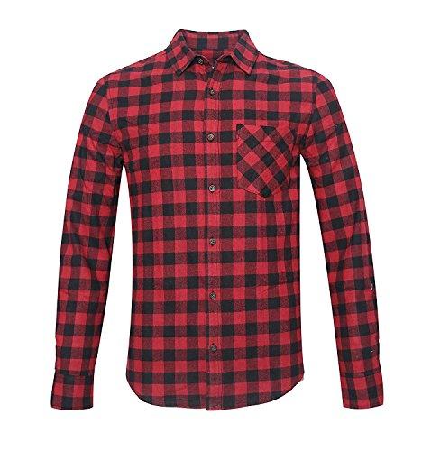 Nutexrol Herren 2018 Herbst Flanellhemd Gitter Langarm Shirt Bluse mit Eine Brusttasche Fit S-2XL Rot Schwarz 2XL