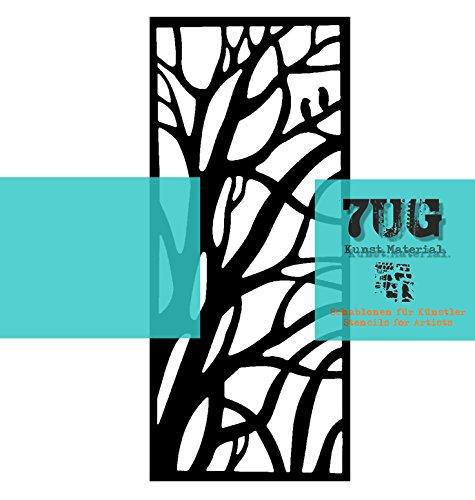 7UG Designer Schablone Baum/AST/Wald für Mixed Media Künstler