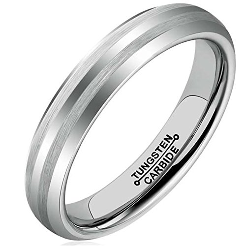 AmDxD Modeschmuck Damen Herren Ring Wolfram Stahl (mit Gratis Gravur) Runde 4MM Silber Ehering 54 (17.2)