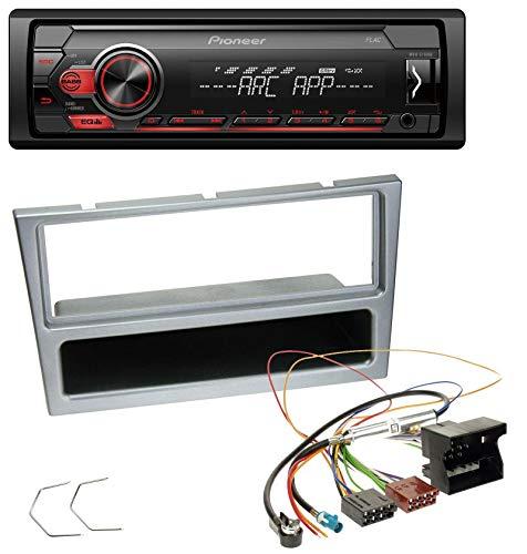 caraudio24 Pioneer MVH-S100UB USB AUX MP3 1DIN Autoradio für Opel Combo C Corsa C Tigra Meriva ab 2005 Silber (Pioneer-subwoofer-combo)