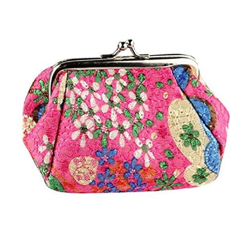 Preisvergleich Produktbild Tongshi Frauen retro Vintage Flower Small Wallet Hasp Handtasche Kupplung Münze Damentasche (hot pink)